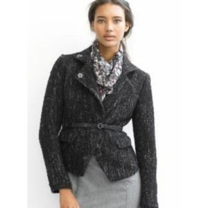 Banana Republic Boucle Zip Jacket Black Violet 0
